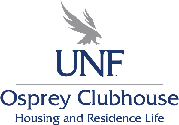 Osprey Clubhouse Logo with a gray osprey, UNF,Osprey clubhouse, and housing and residence life text place together in blue