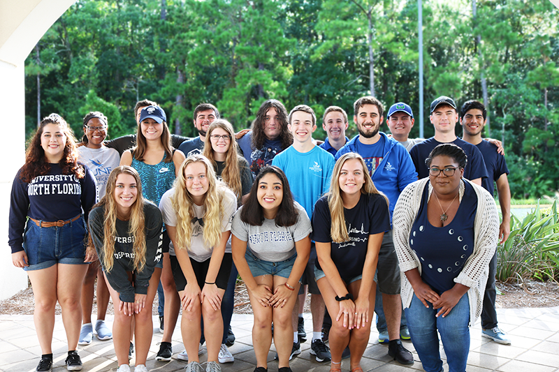 Osprey Crossings Student Staff together in UNF apparel
