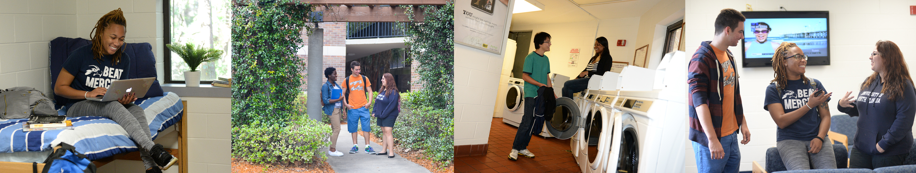 four scenes-a dorm room, greenery outside, laundry room, break room