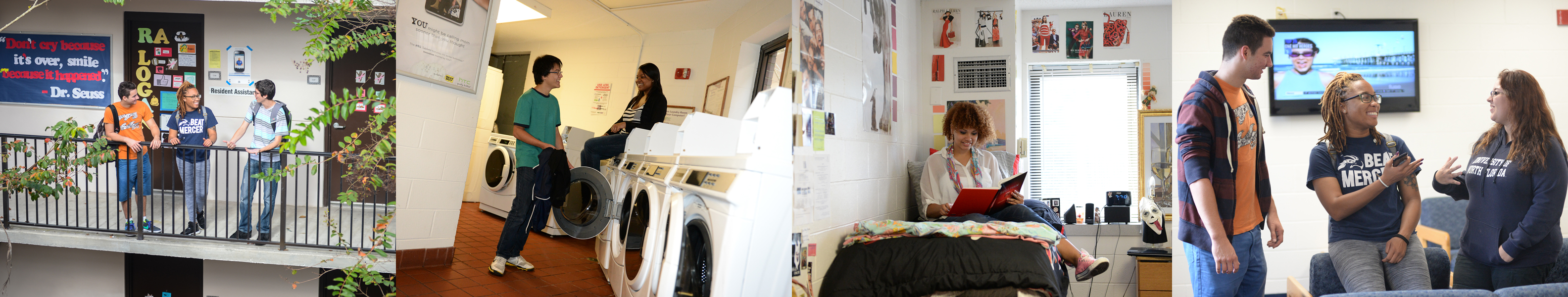 four scenes-balcony, laundry room, dorm room, break room