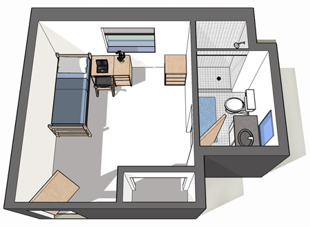 1 bed floor layout