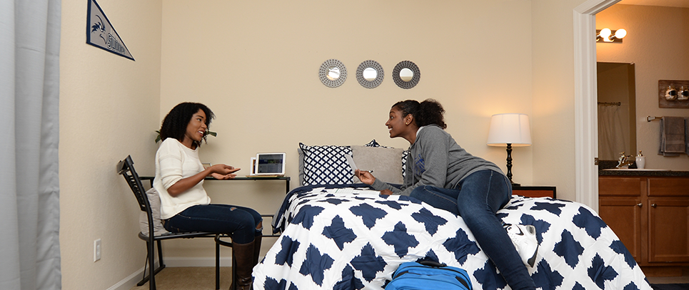 Two roommates enjoying each others company in their residence hall in their decorated room with blue and white linens, mirrors and a U N F pennant.