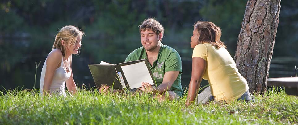 Student Study Group, two girls and a guy sitting in the grass next to a tree