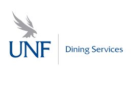 UNF Dining Services type in dark blue along with the U N F logo and the osprey osprey