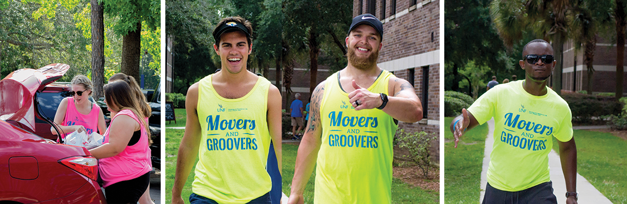 Movers and groovers helping UNF student residents move into the their residence hall