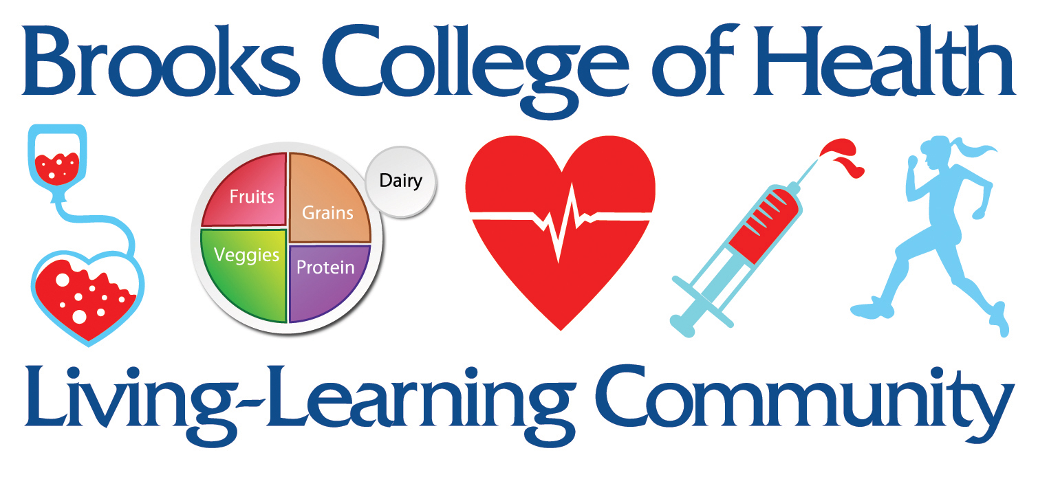 Brooks College of Health Living-Learning Community Logo with red  health infusion icon, healthy food groups icon, beating hert icon, red syringe icon and sillhouette girl running icon logo