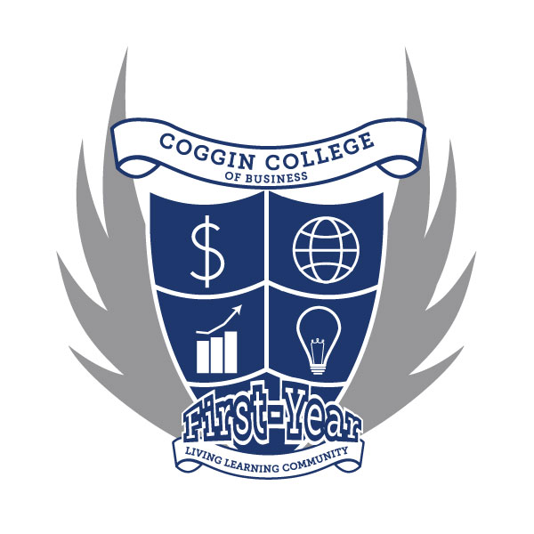 Coggin First year living-learning community logo, gray and blue with  majestic wings aon both sides in the shape of a crest