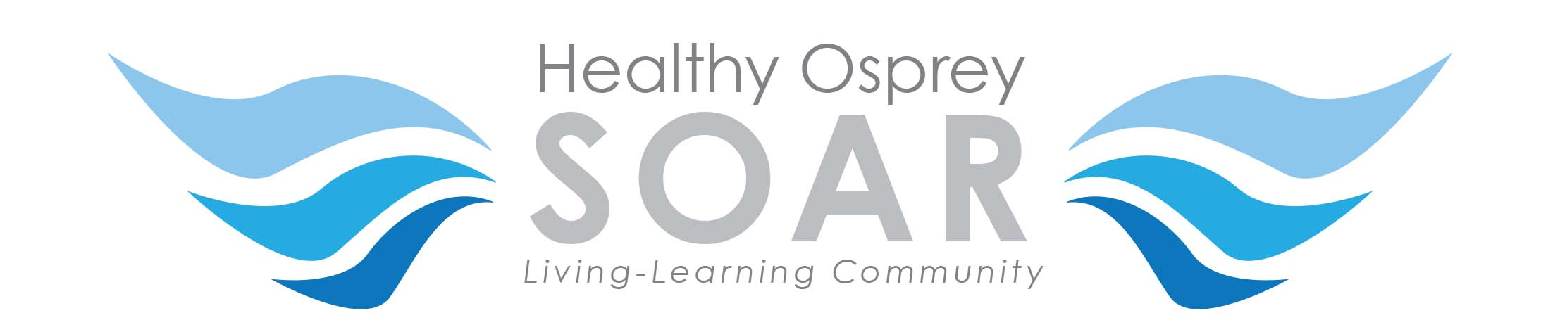 Healthy Osprey SOAR Logo with the words Healthy Osprey soar living-learning community in the center stacked and two  majestic wings on the left and right in three different shades of blue