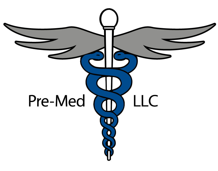 Pre Med living-learning community logo white staff pole with two blue snakes encircled around it with gray wings at the top and the words pre-med llc in black across the middle
