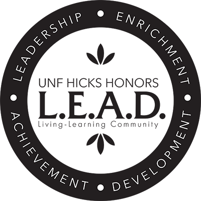 UNF Hicks Honors L.E.A.D. Leadership Enrichment Achievement Development logo