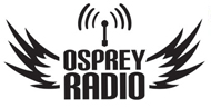 Osprey Radio in black in the middle with two bird wings on the left and right in black and a radio signal on top