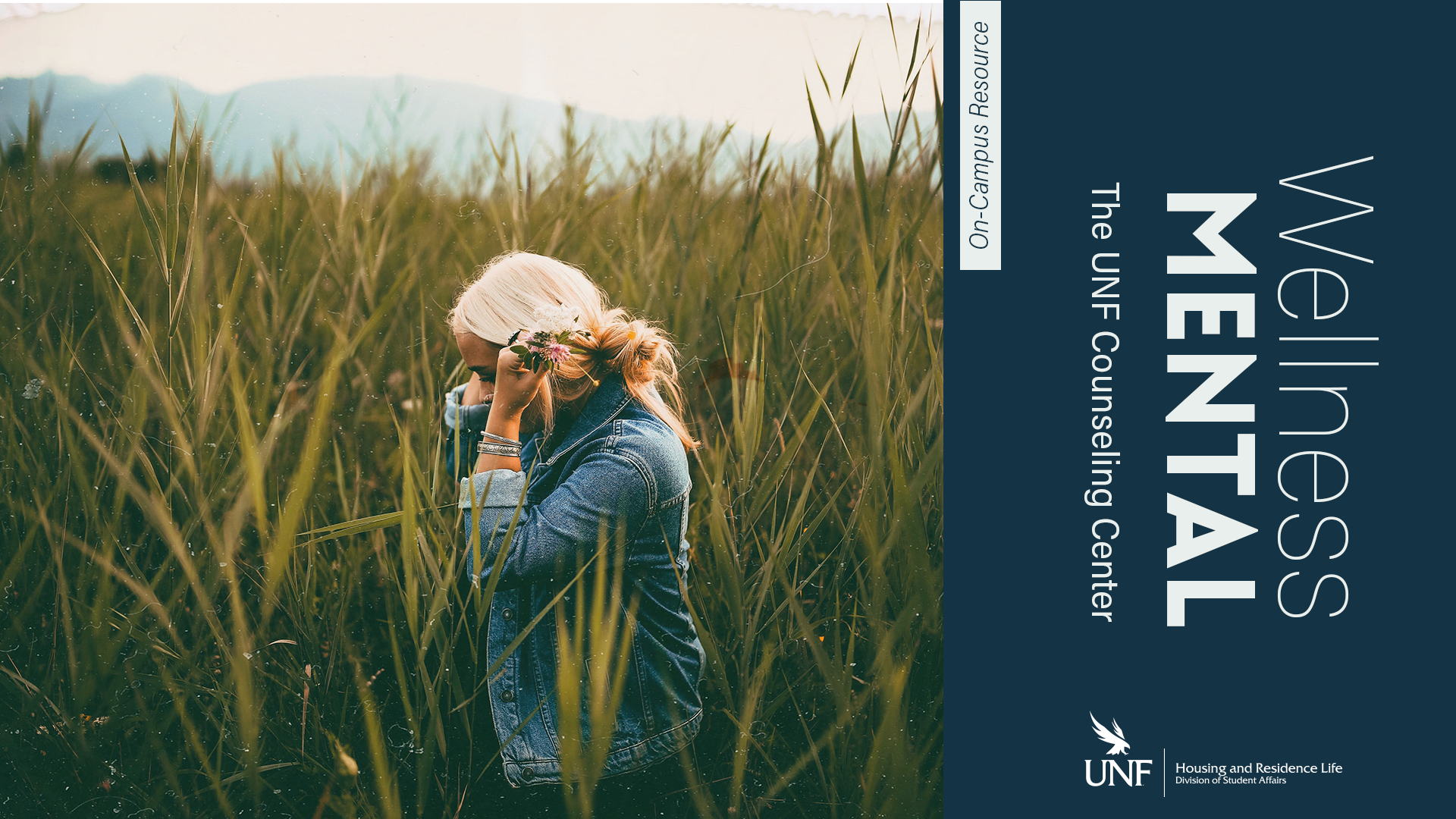 Wellness Mental the UNF Counseling Center on campus resource - a woman in a field
