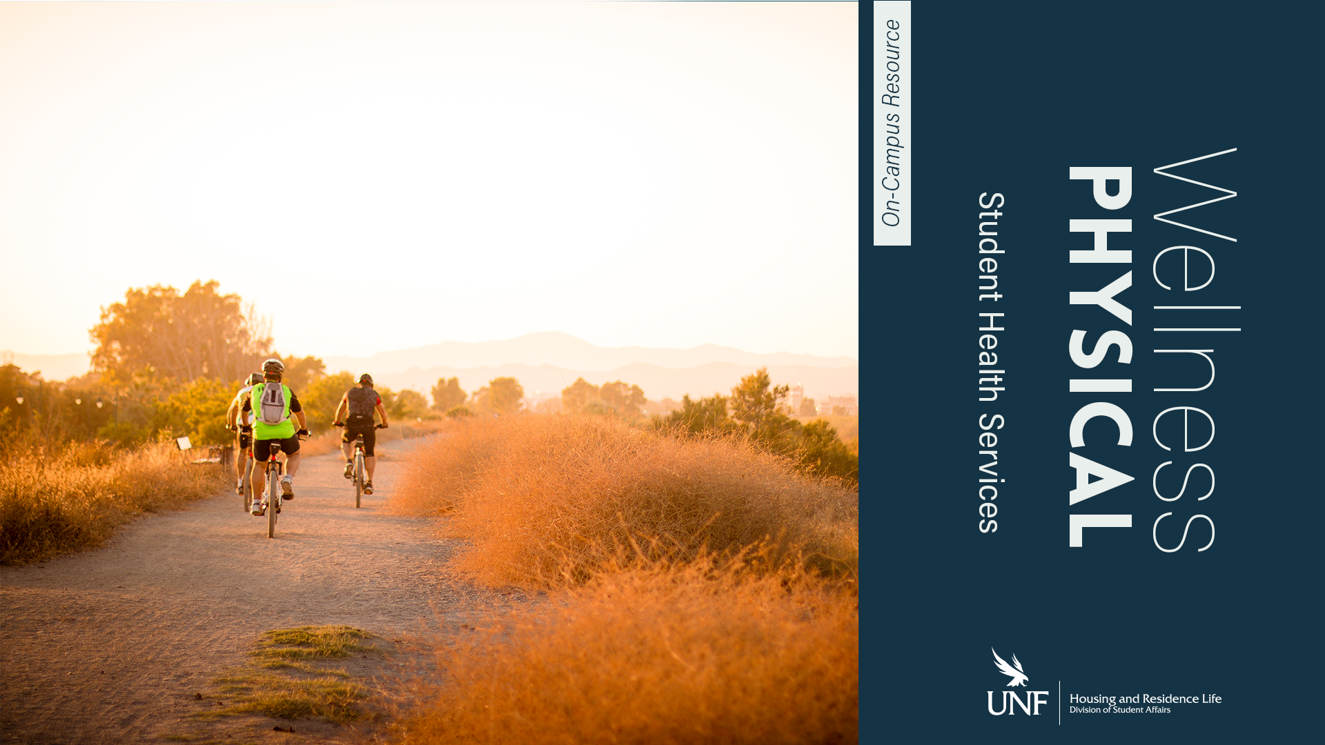 Wellness physical student health services on campus resource - people biking on a path