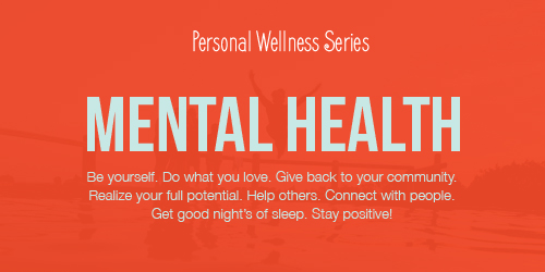 Red Personal wellness graphic with the words mental health in t blue and personal wellness.