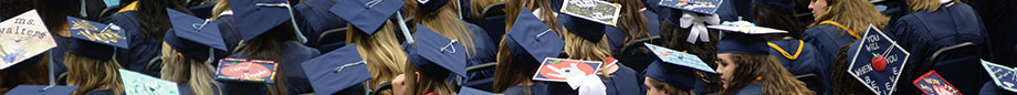 numerous students from behind during commencement ceremony