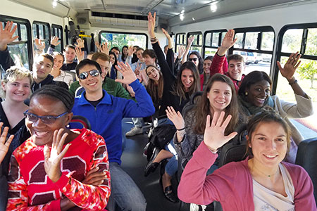 group students inside a bus