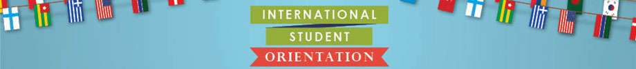 International student orientation text with international flags