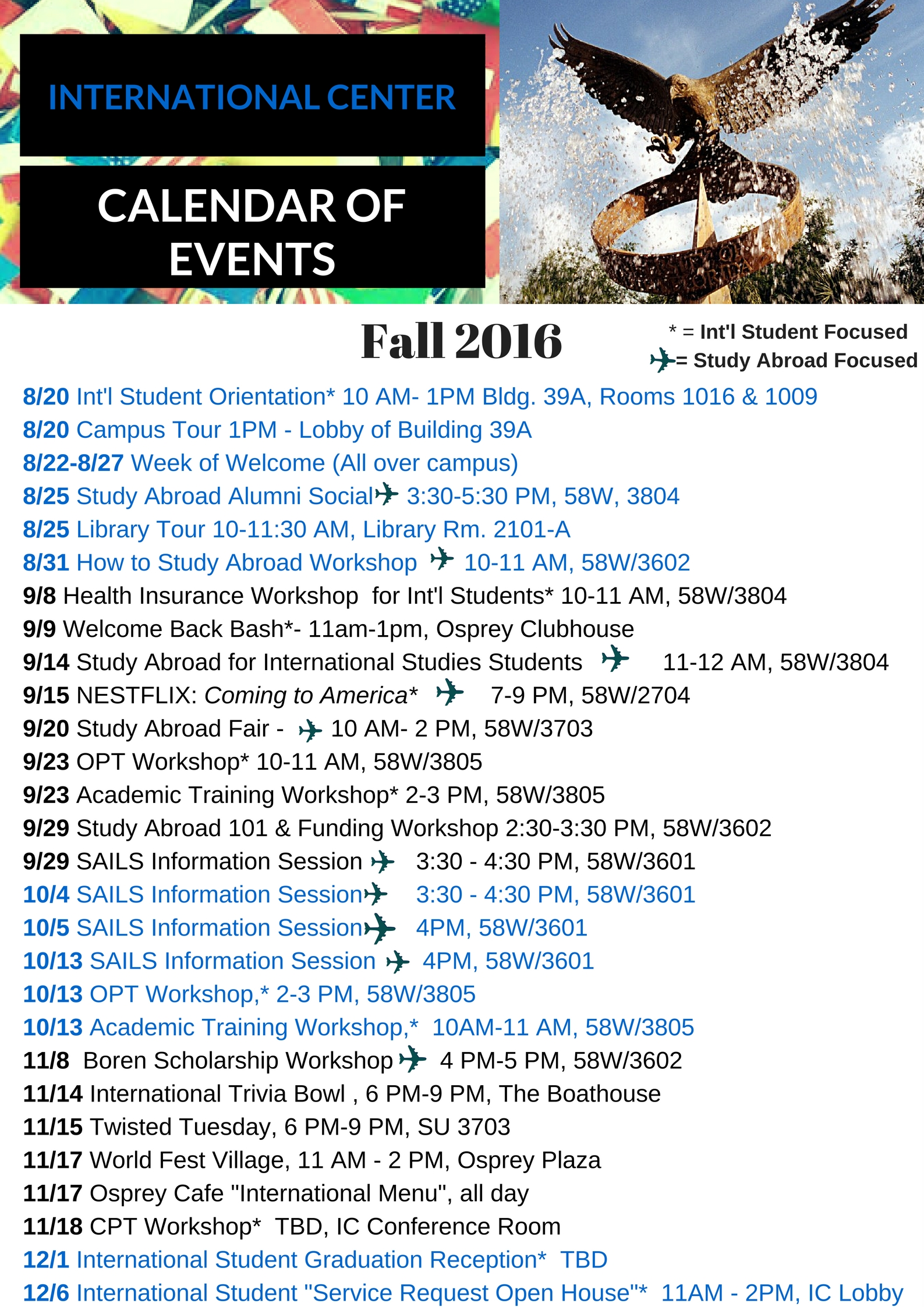 Calendar of Events Fall 2016 updated