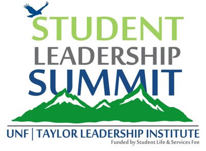 Student Leadership Summit graphic with mountains and osprey