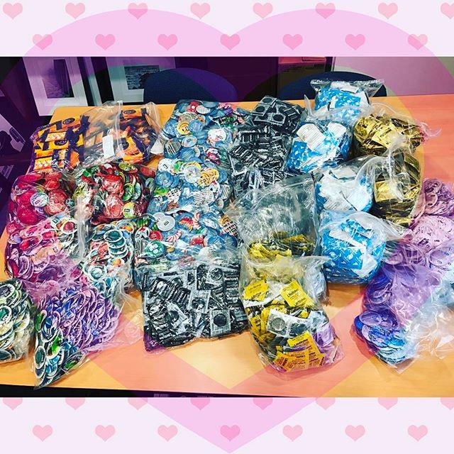 Full Bags with many different kinds of condoms