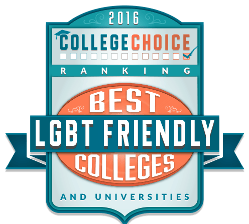 "A blue orange and grey sign with a banner shape that says ""2016 College Choice Ranking Best LGBT Friendly Colleges and Universities"""