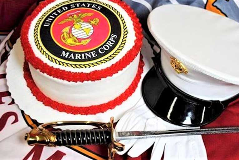 Marines Corps birthday cake, hat, gloves and sabre