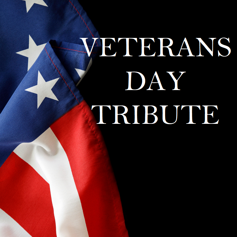 "American flag with the words ""Veterans Day Tribute"""
