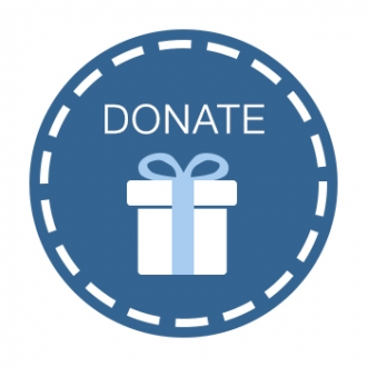 Donate - with a blue background
