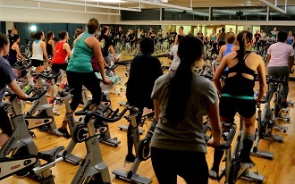 People taking a spin class