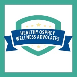 Healthy Osprey Wellness Advocates - on a blue and teal background with stars