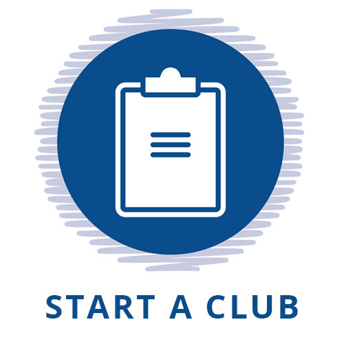 blue circle with notebook and text Start a Club