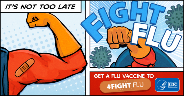 Superhero's arm, CDC logo and text it's not too late to Fight Flu. Get a flu vaccine to fight flu.