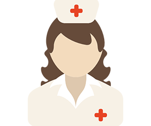 animated nurse with red crosses on her hat and top