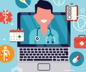 animated medical profession on a laptop screen