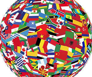 World Flags shaped like a globe