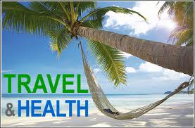Travel and Health on a beach backdrop