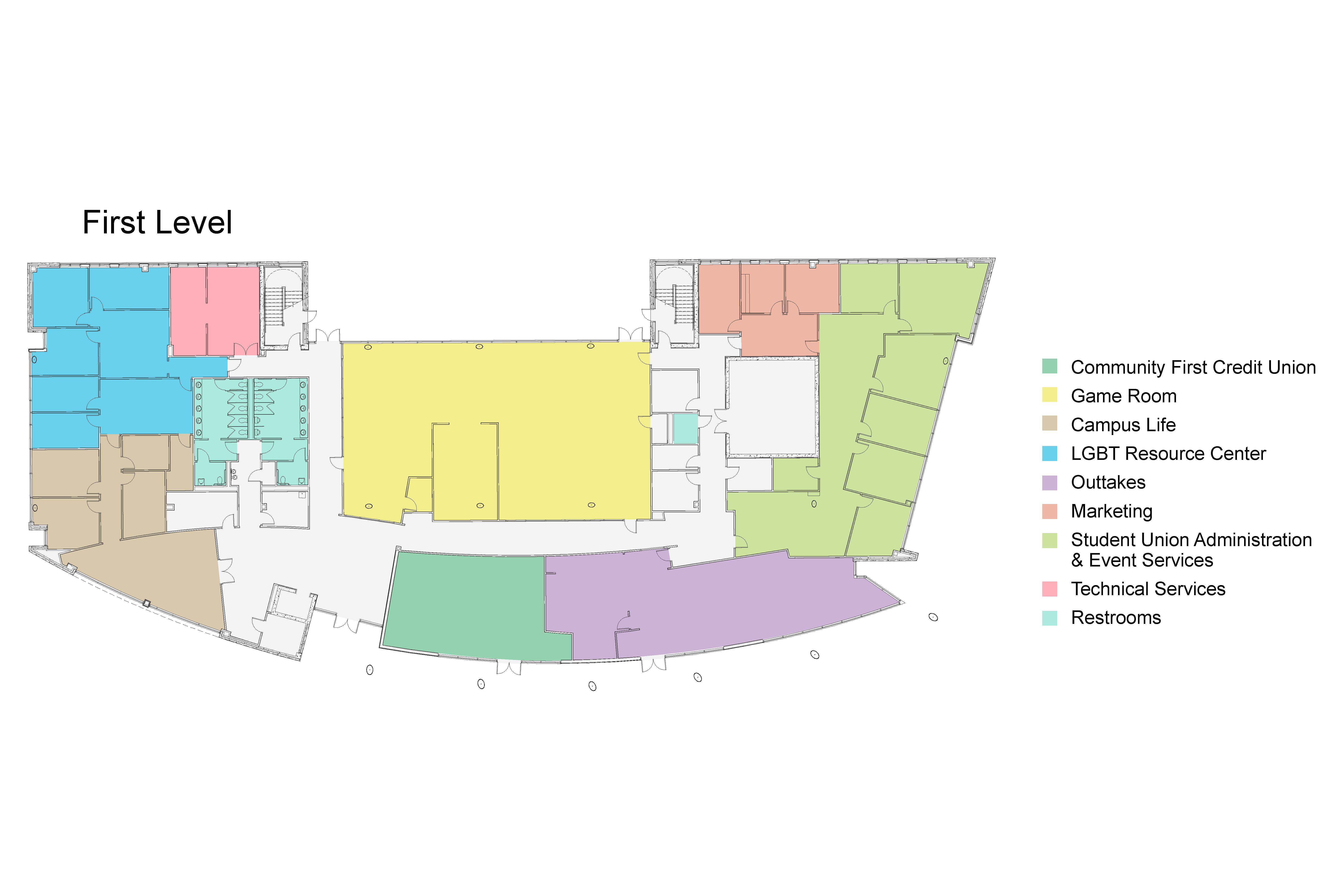 Student Union 1st floor map east side. See text version below.