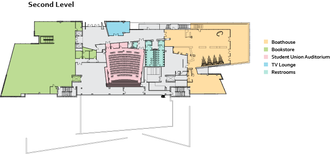 Student Union 2nd floor map west side. See text version below.