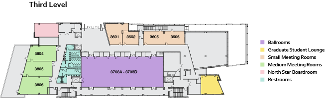 Student Union 3rd floor map west side. See text version below.