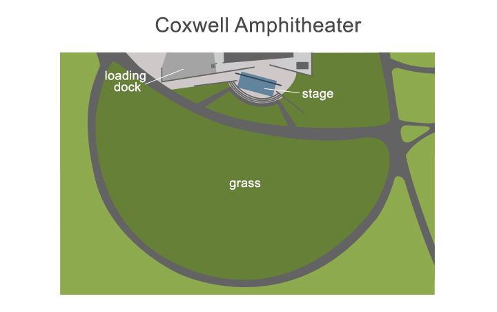 amphitheater map showing the stage and loading dock locations