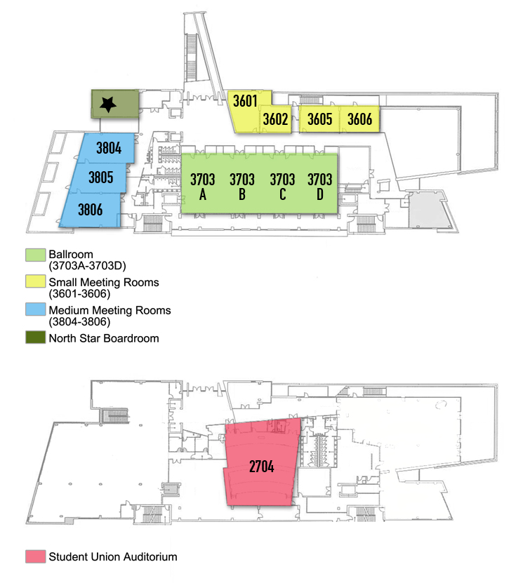Student Union East side map. See text version below.