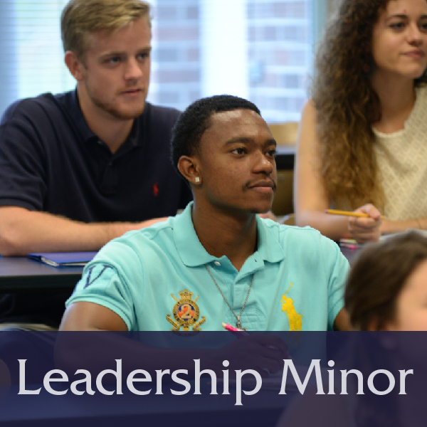 Leadership Minor button with image of students in class, links to Requirements of the Leadership Minor page