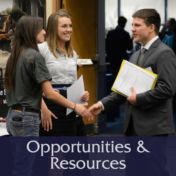 Opportunities and Resources Button with image of students shaking hands at career fair, links to Outreach & Opportunties page