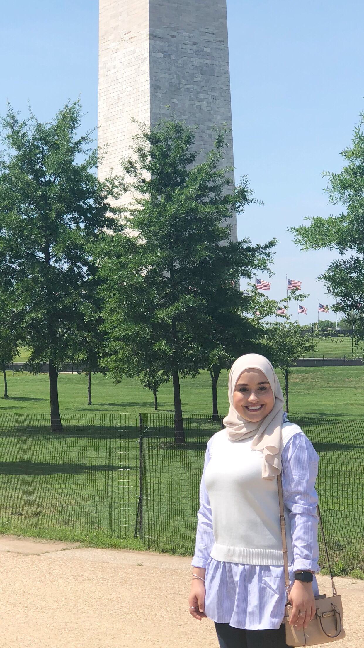 Amani in front of the Washington Monument