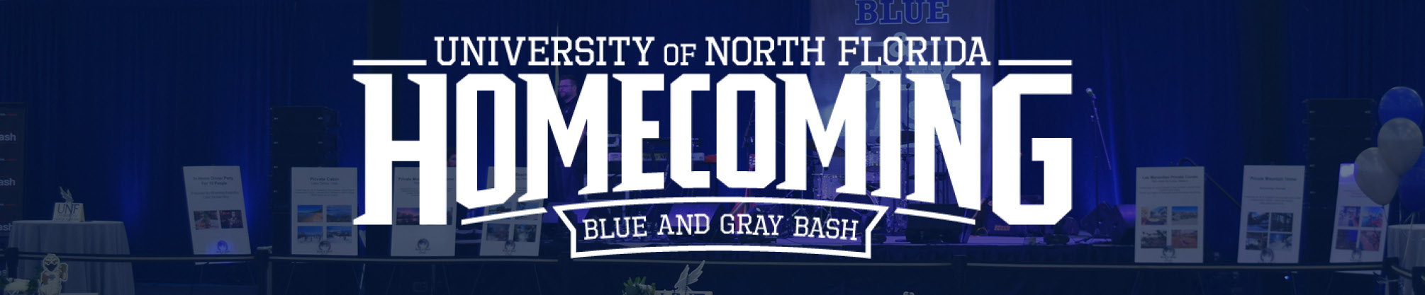 University of North Florida homecoming - blue and gray bash - on a blue background