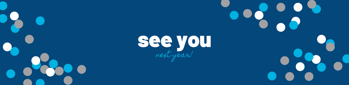 see you next year - on a blue background with dots
