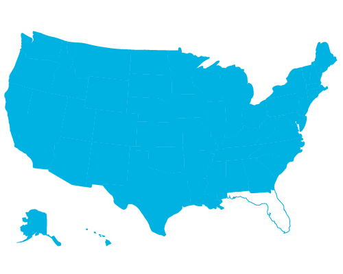 icon of the United States of America without Florida