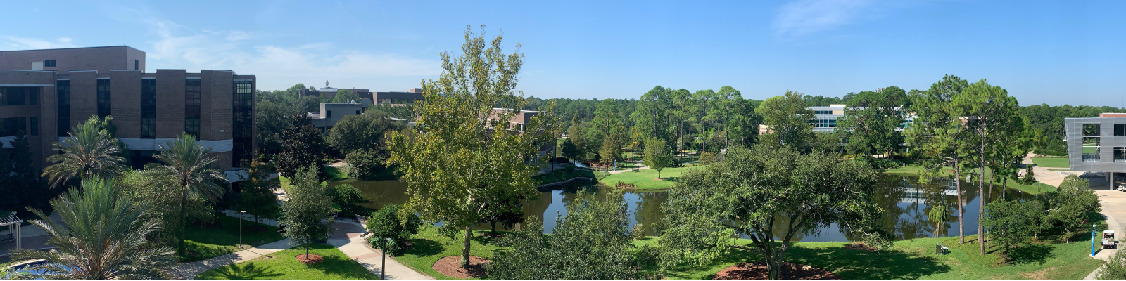 panoramic image of UNF's campus showing a lake and trees