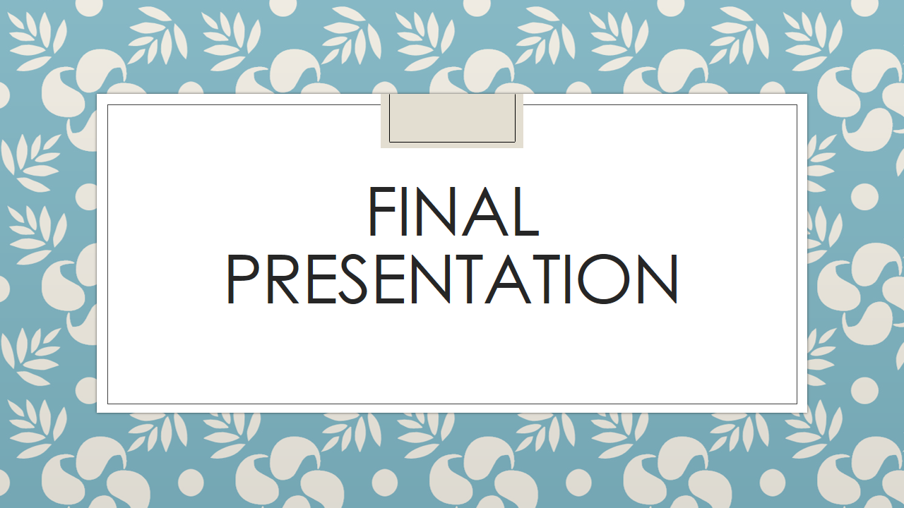 final ppt Parenting presentation parents often wish that a parenting manual came with their child your final project is to develop a powerpoint presentation designed as a comprehensive summary of.